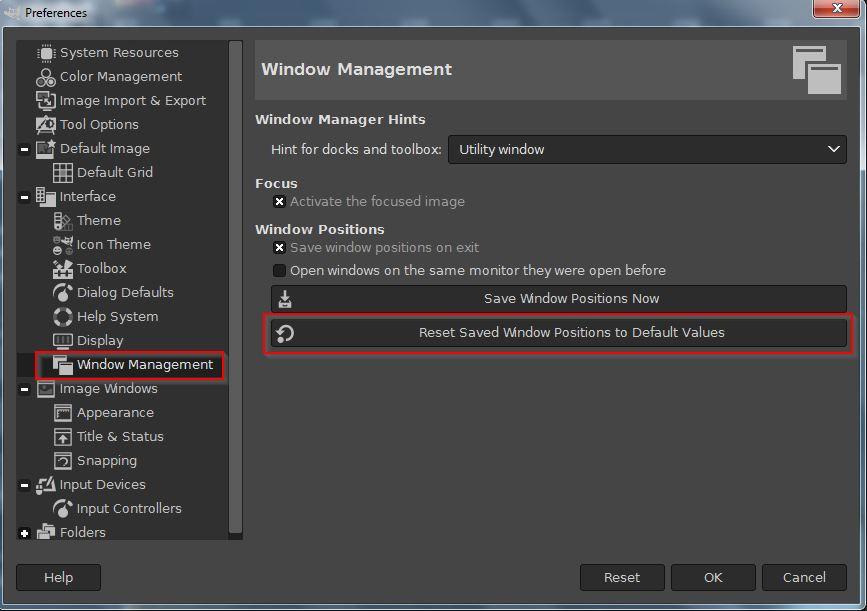 ALT IT Consulting - GIMP - Reset windows to default